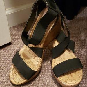 Black cork heel wedges